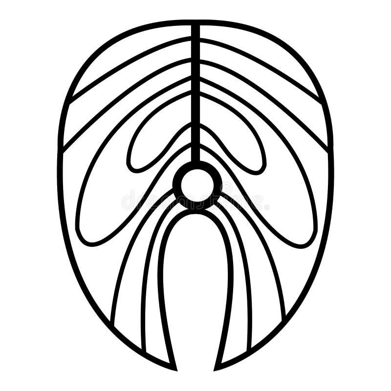 Ícone do bife Salmon, estilo do esboço ilustração stock