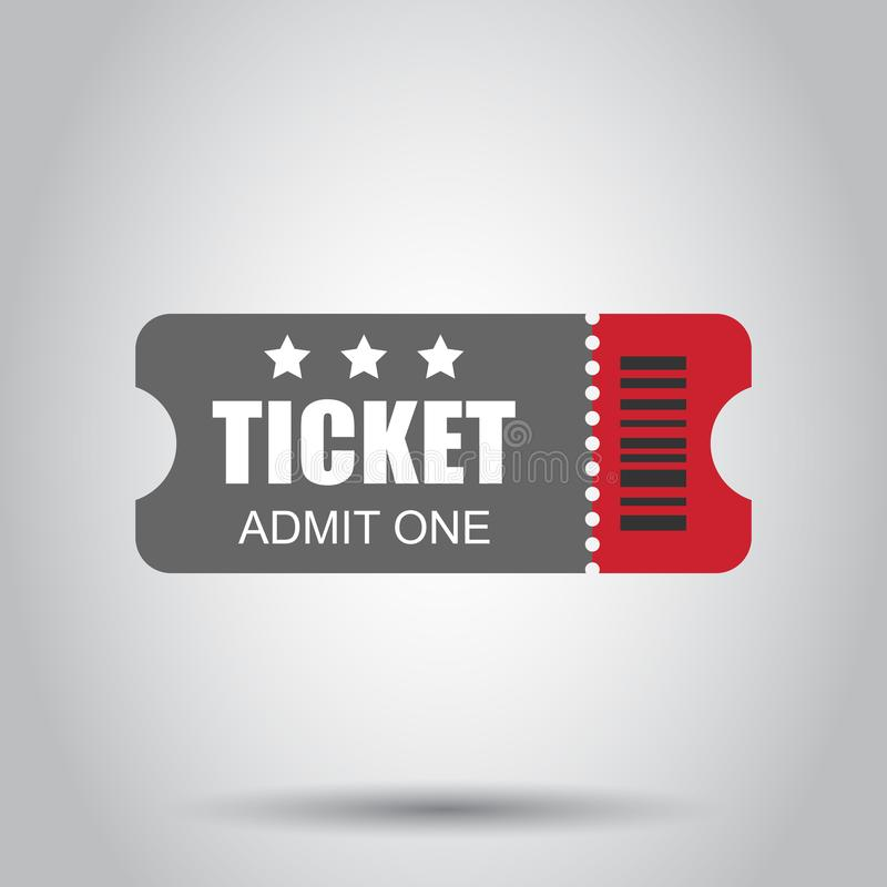 Ícone do bilhete do cinema no estilo liso Admita uma ilustração do vetor da entrada do vale no fundo branco Conceito do negócio d ilustração do vetor