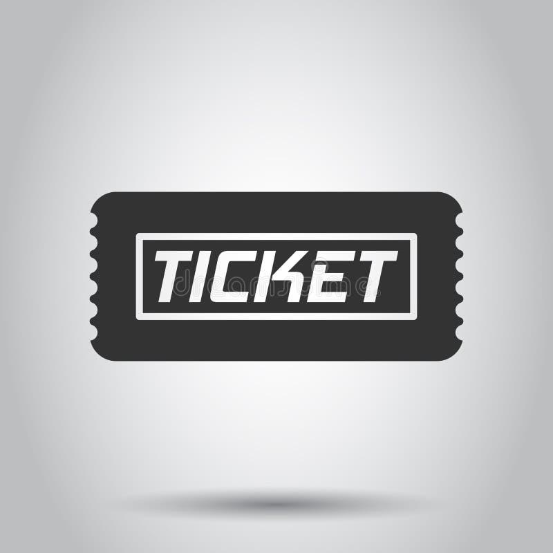 Ícone do bilhete do cinema no estilo liso Admita uma ilustração do vetor da entrada do vale no fundo branco Conceito do negócio d ilustração royalty free