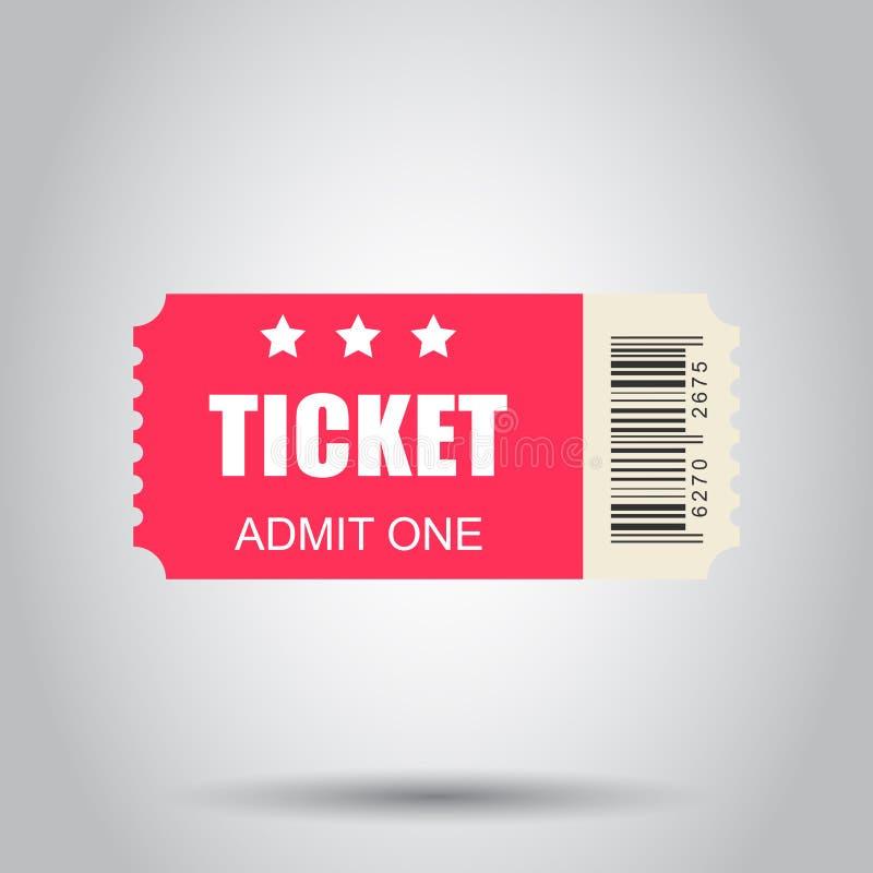 Ícone do bilhete do cinema no estilo liso Admita uma ilustração do vetor da entrada do vale no fundo branco Conceito do negócio d ilustração stock