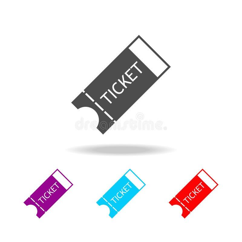 Ícone do bilhete Elementos do curso em multi ícones coloridos Ícone superior do projeto gráfico da qualidade Ícone simples para W ilustração do vetor