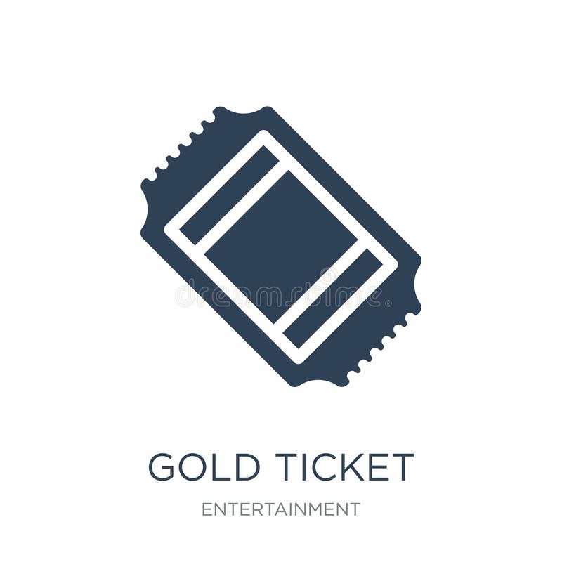 ícone do bilhete do ouro no estilo na moda do projeto ícone do bilhete do ouro isolado no fundo branco ícone do vetor do bilhete  ilustração do vetor