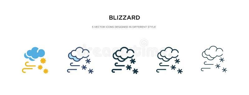 Ícone do Blizzard em ilustração de vetor de estilo diferente dois ícones coloridos e pretos do vetor de nevão concebidos em conto ilustração do vetor