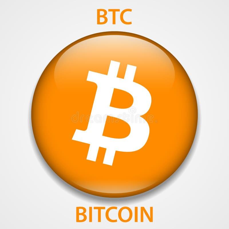 Ícone do blockchain do cryptocurrency de Bitcoin Dinheiro virtual eletrônico, do Internet ou símbolo do cryptocoin, logotipo ilustração do vetor