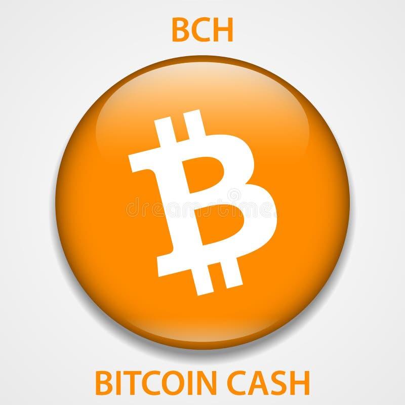 Ícone do blockchain do cryptocurrency do dinheiro de Bitcoin Dinheiro virtual eletrônico, do Internet ou símbolo do cryptocoin, l ilustração do vetor