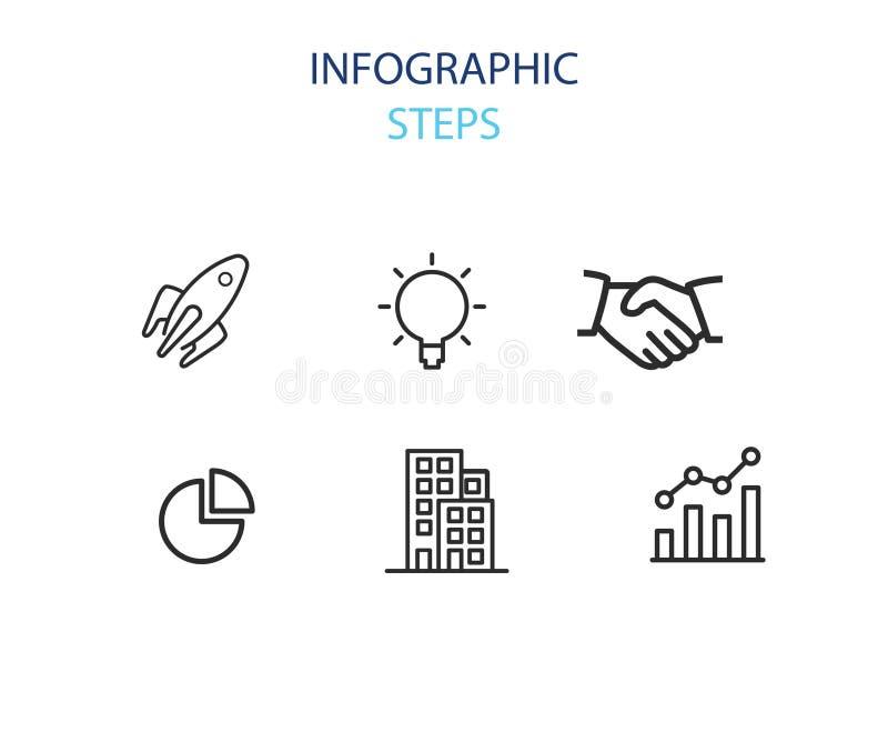 Ícone do bloco das etapas de Infographic ilustração stock