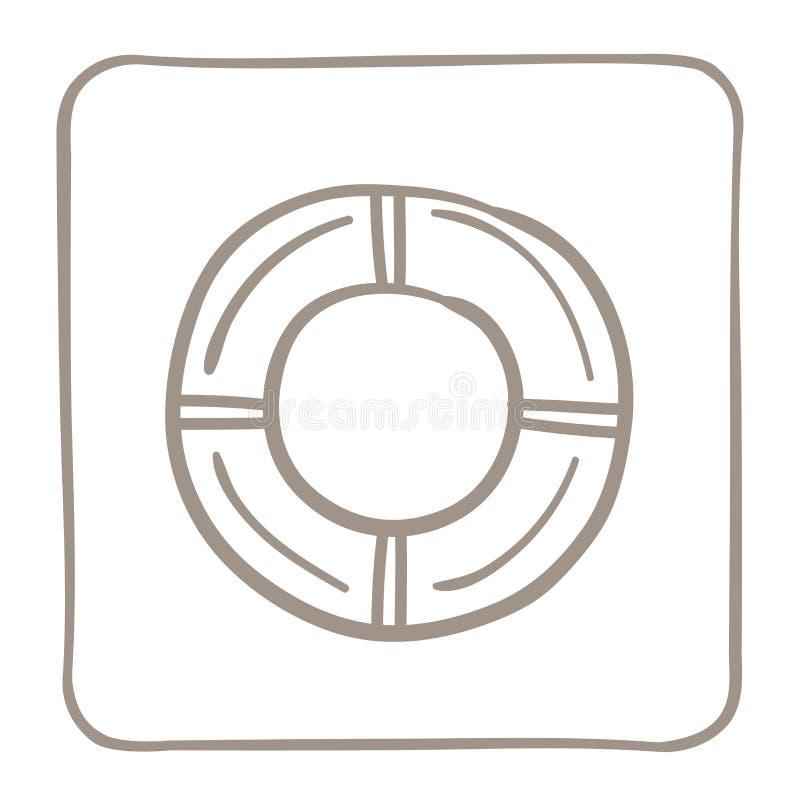 Ícone do boia salva-vidas em um claro - quadro marrom Gráficos de vetor ilustração royalty free