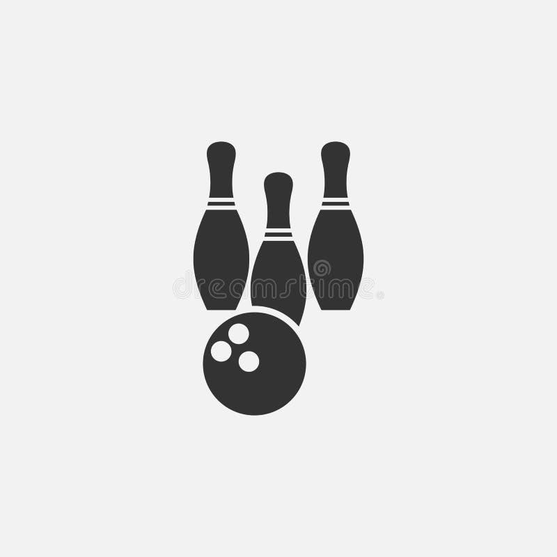 Ícone do boliches, greve, esporte, jogo ilustração do vetor