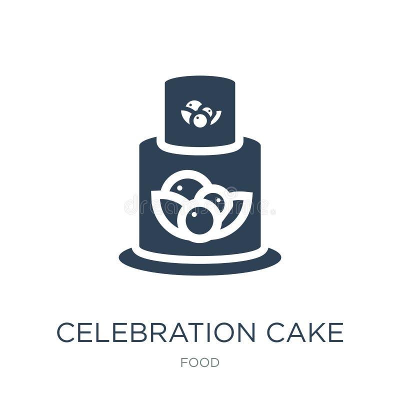 ícone do bolo da celebração no estilo na moda do projeto ícone do bolo da celebração isolado no fundo branco ícone do vetor do bo ilustração royalty free