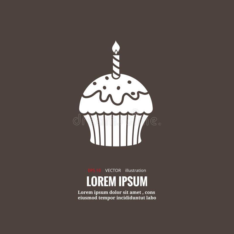 Ícone do bolo de aniversário ilustração stock