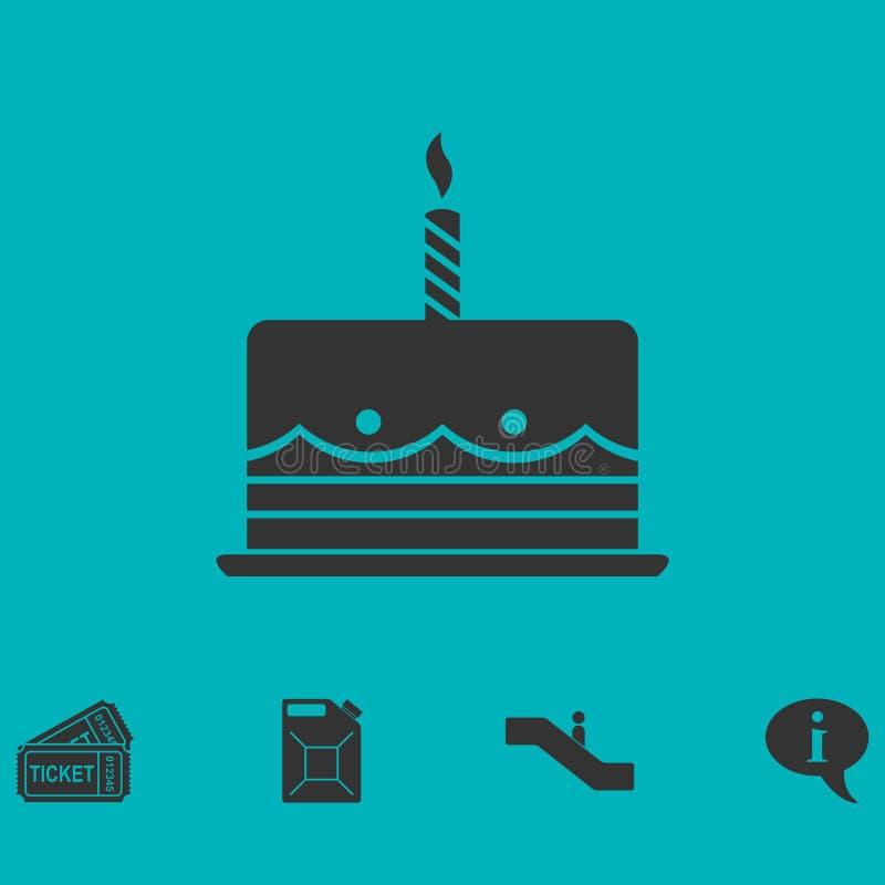 Ícone do bolo de aniversário liso ilustração royalty free