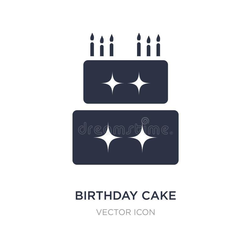 Ícone do bolo de aniversário no fundo branco Ilustração simples do elemento do conceito do partido ilustração do vetor