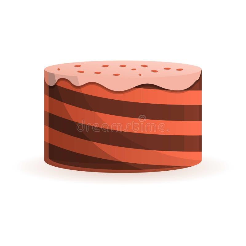 Ícone do bolo de aniversário do queque, estilo dos desenhos animados ilustração stock