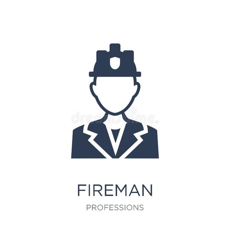Ícone do bombeiro Ícone liso na moda do bombeiro do vetor no backgroun branco ilustração stock