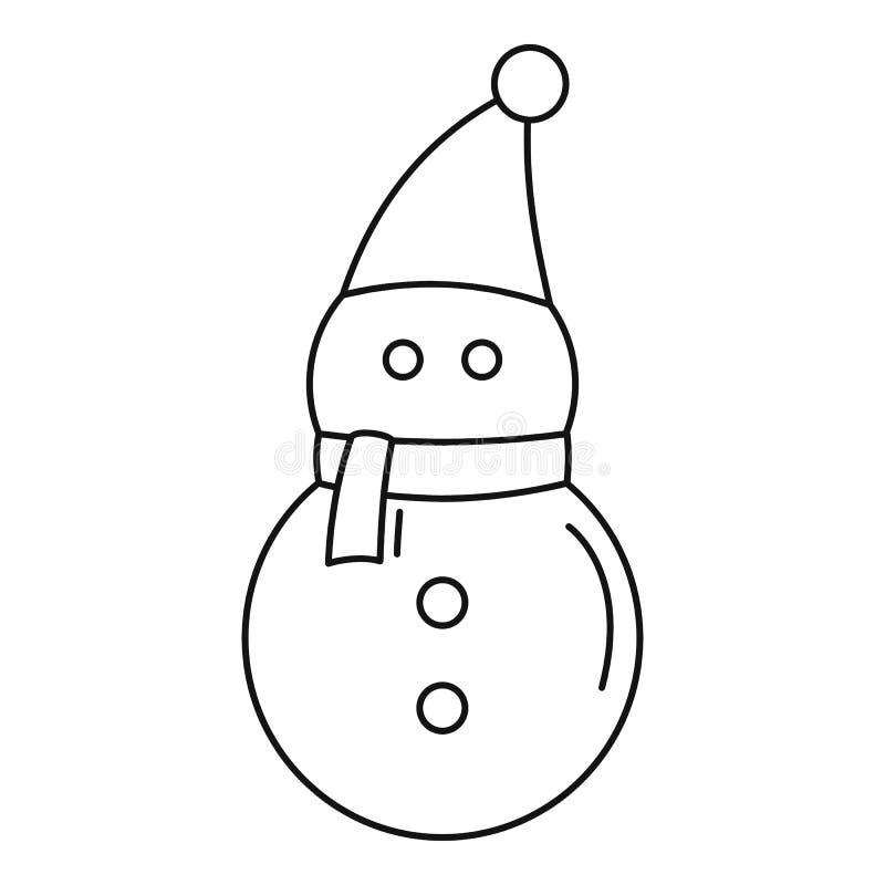 Ícone do boneco de neve, estilo do esboço ilustração do vetor