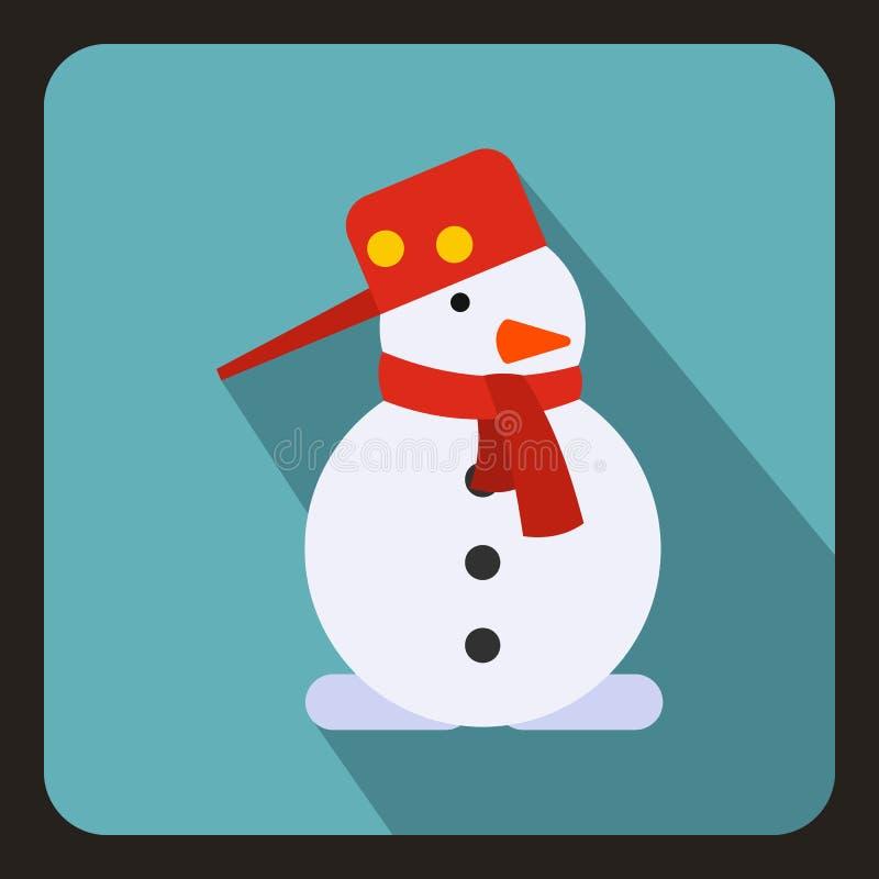 Ícone do boneco de neve, estilo liso ilustração royalty free
