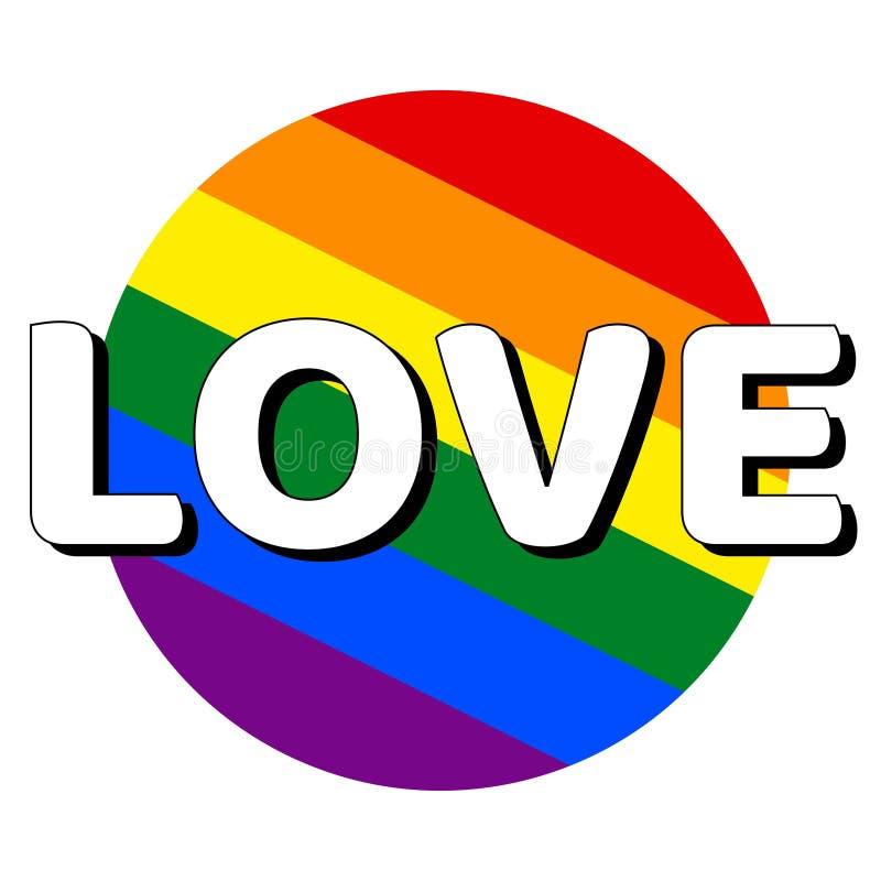 ?cone do bot?o do c?rculo da bandeira do orgulho do lgbt do arco-?ris com inscri??o com amor da palavra no estilo moderno Igualda ilustração stock