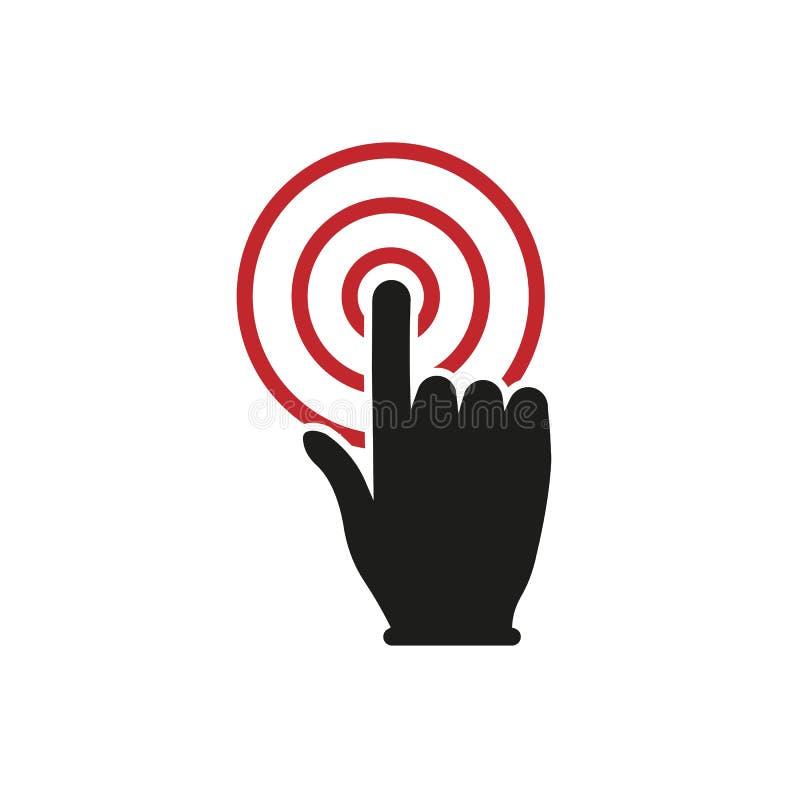 Ícone do botão do clique da mão Projeto simples ilustração do vetor