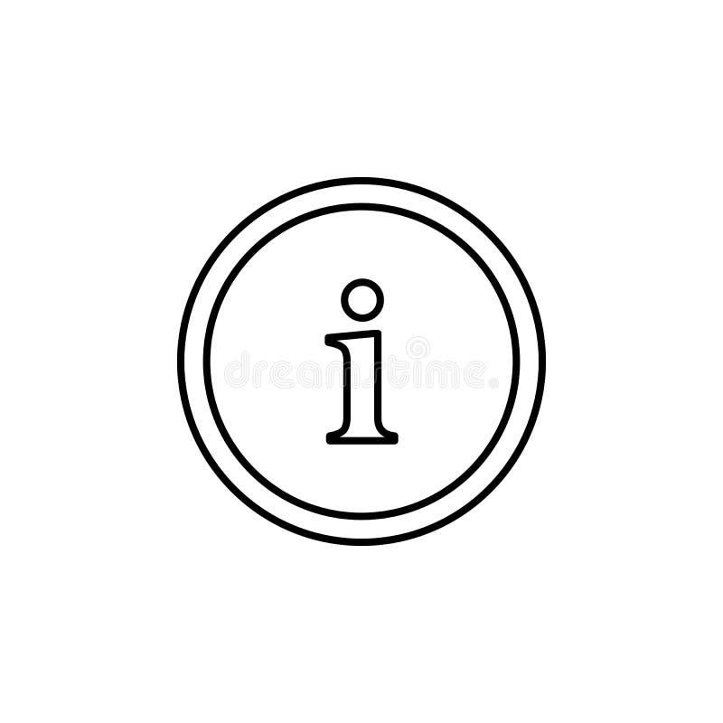 ícone do botão da informação Elemento do ícone simples para Web site, design web, app móvel, gráficos da informação Linha fina íc ilustração stock