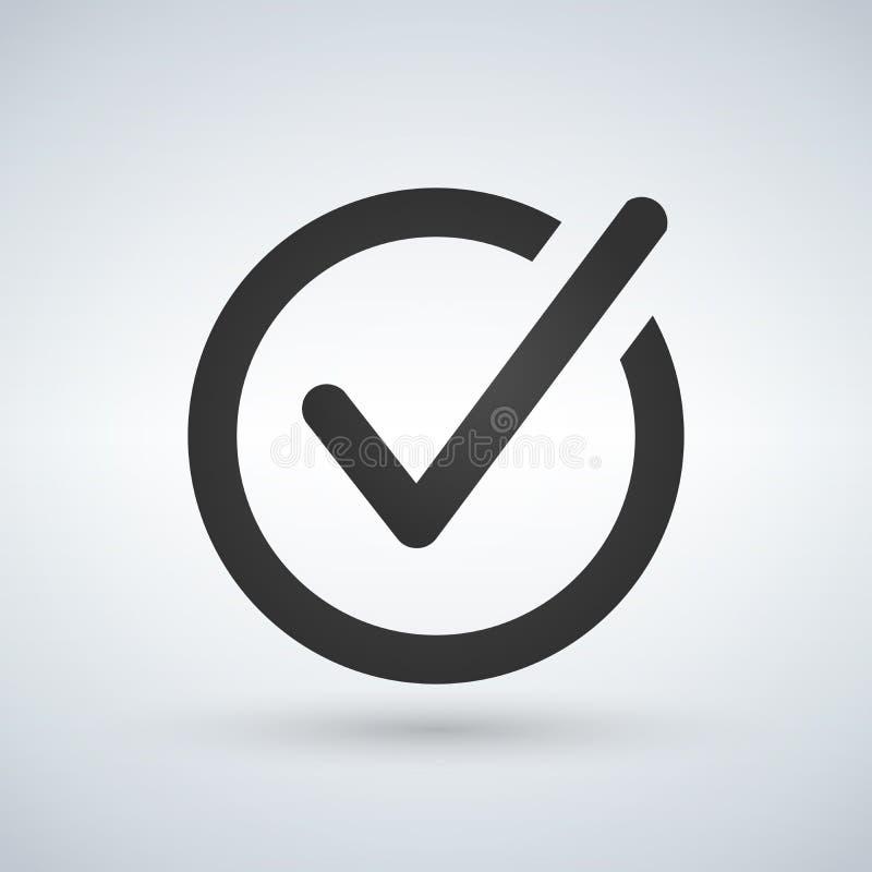 Ícone do botão da lista de verificação Marca de verificação no sinal redondo ilustração stock