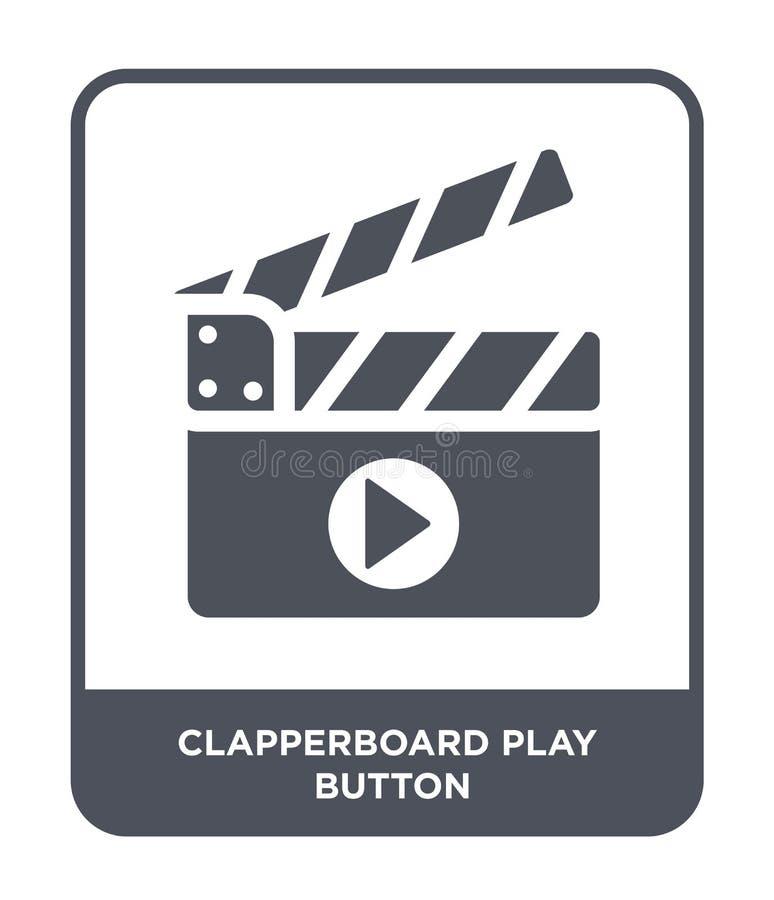 ícone do botão do jogo do clapperboard no estilo na moda do projeto ícone do botão do jogo do clapperboard isolado no fundo branc ilustração royalty free