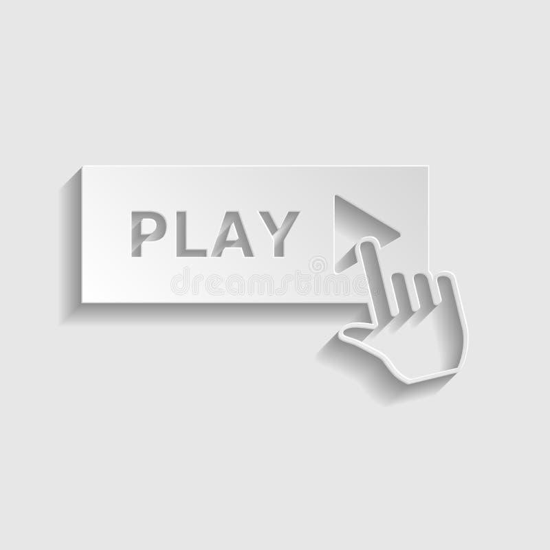 Ícone do botão do jogo com sinal da mão ?cone de papel do estilo Ilustra??o ilustração stock