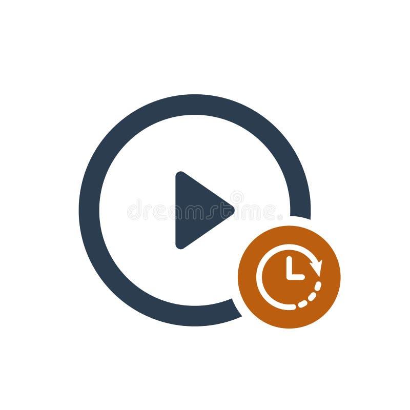 Ícone do botão do jogo com sinal do pulso de disparo Jogue o ícone do botão e a contagem regressiva, fim do prazo, programação, p ilustração do vetor