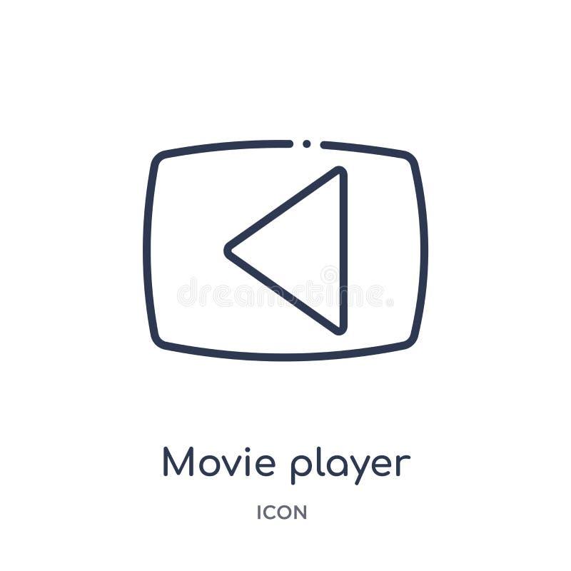 ícone do botão do jogo do jogador de filme da música e da coleção do esboço dos meios Linha fina ícone do botão do jogo do jogado ilustração stock