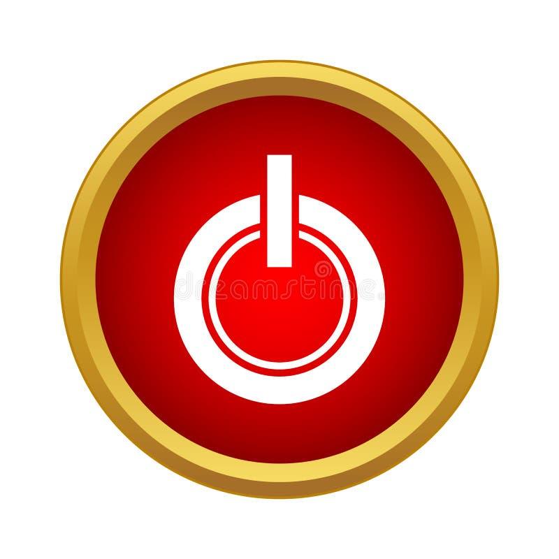 Ícone do botão do poder no estilo simples ilustração stock