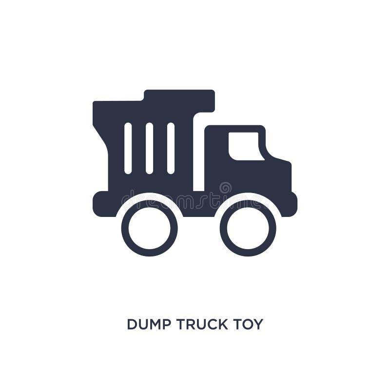 ícone do brinquedo do caminhão basculante no fundo branco Ilustração simples do elemento do conceito dos brinquedos ilustração stock