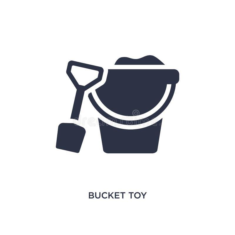 ícone do brinquedo da cubeta no fundo branco Ilustração simples do elemento do conceito dos brinquedos ilustração stock