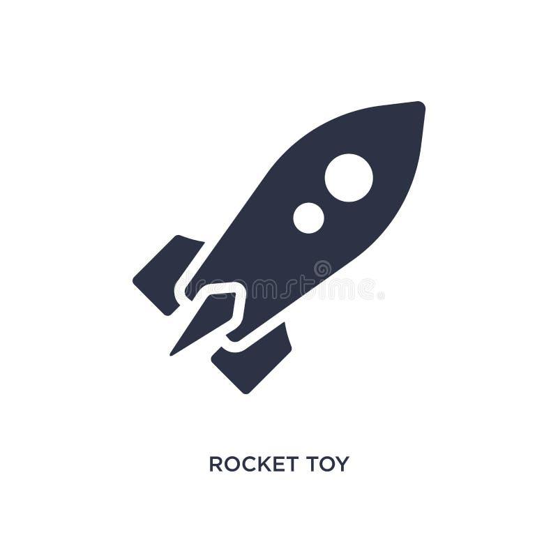 ícone do brinquedo do foguete no fundo branco Ilustração simples do elemento do conceito dos brinquedos ilustração royalty free