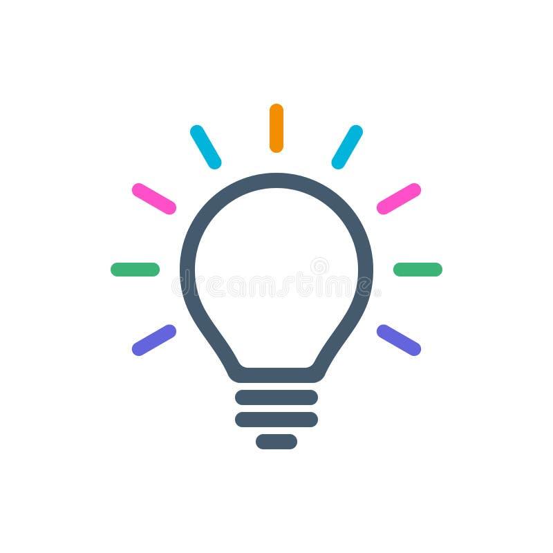 Ícone do bulbo com feixes luminosos coloridos ilustração do vetor