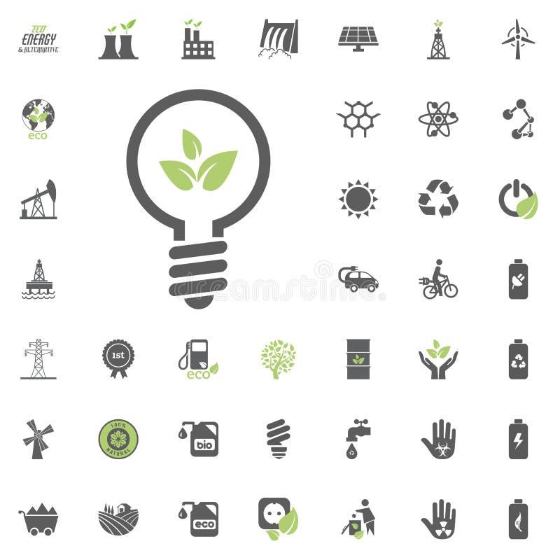 Ícone do bulbo da energia de Eco Grupo do ícone do vetor de Eco e da energia alternativa Vetor ajustado do recurso de poder da el ilustração stock