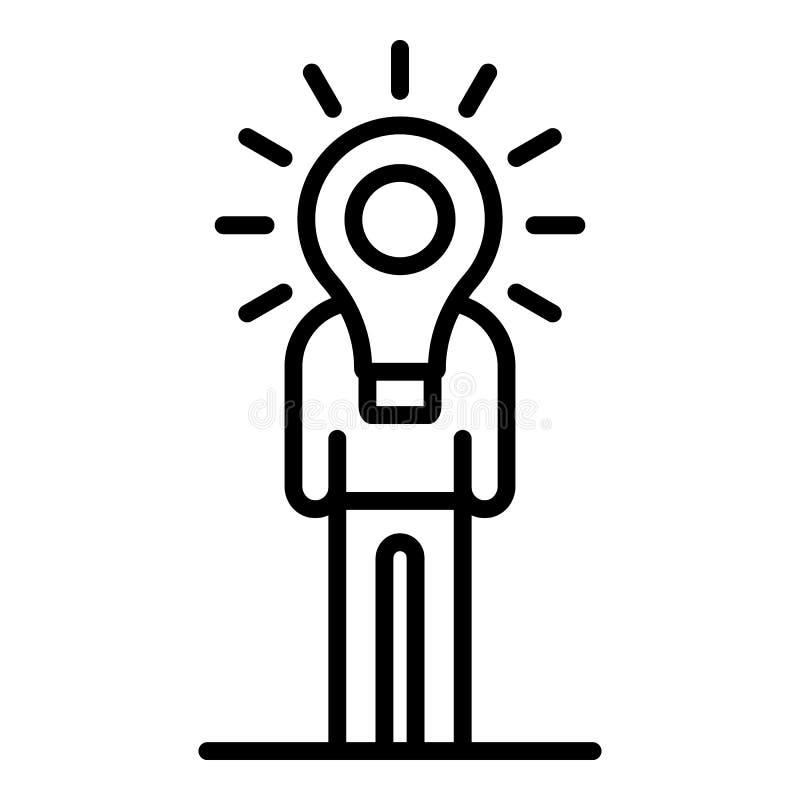 Ícone do bulbo da ideia do homem, estilo do esboço ilustração royalty free