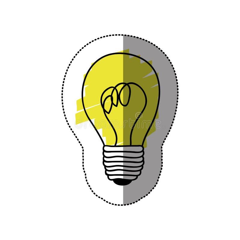 ícone do bulbo da pintura da etiqueta da cor ilustração stock