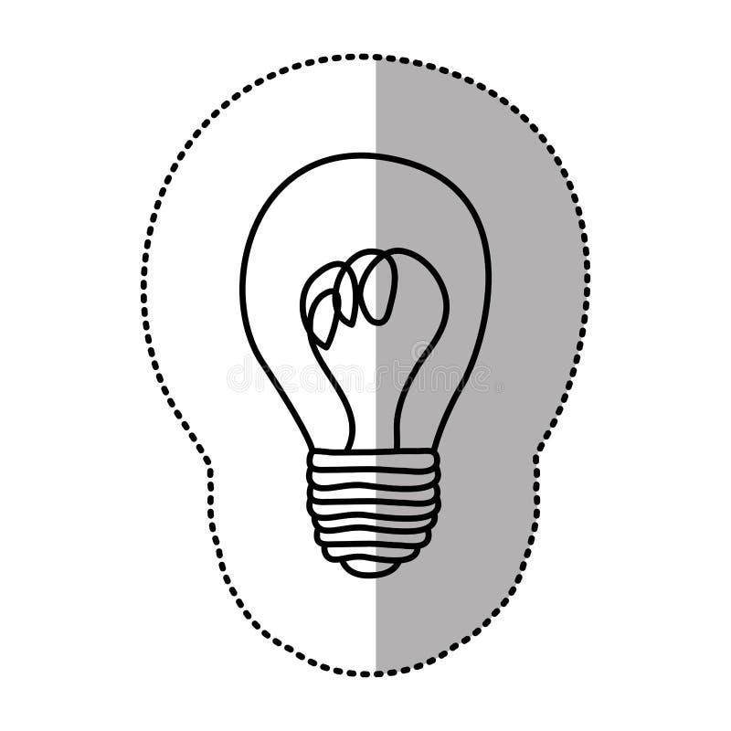ícone do bulbo da pintura da etiqueta do contorno ilustração stock