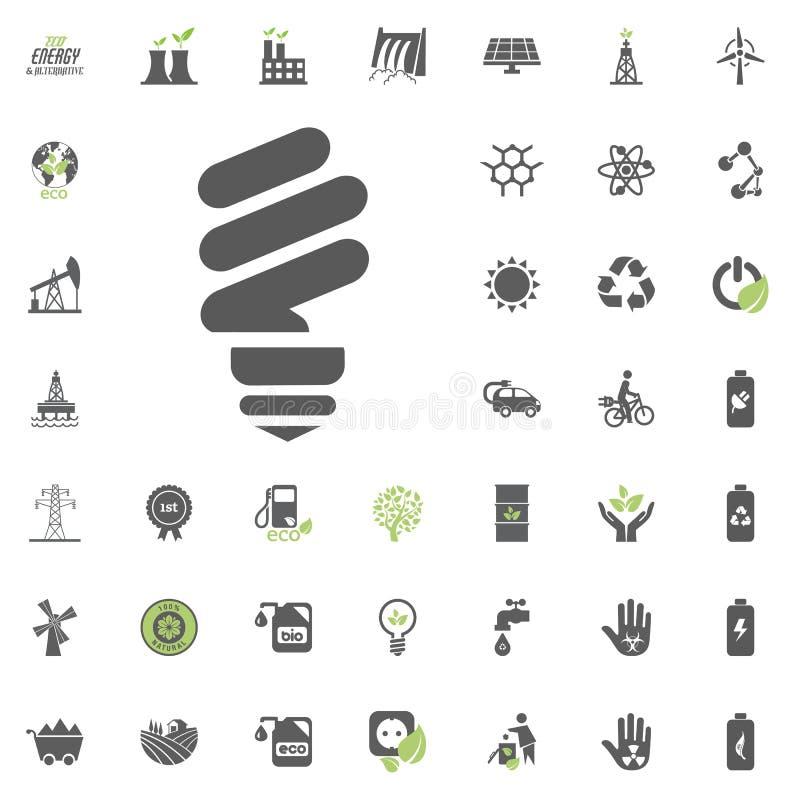 Ícone do bulbo das economias da energia Grupo do ícone do vetor de Eco e da energia alternativa Vetor ajustado do recurso de pode ilustração do vetor