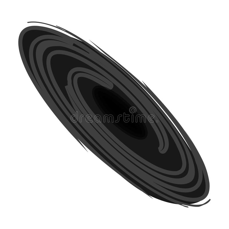 Ícone do buraco negro no estilo monocromático isolado no fundo branco Ilustração do vetor do estoque do símbolo dos planetas ilustração stock