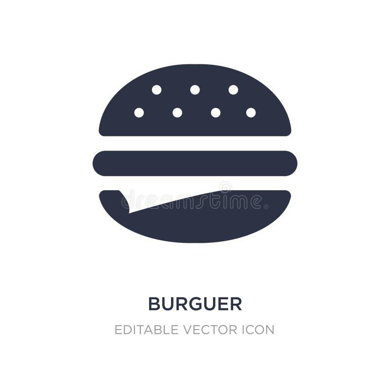 ícone do burguer no fundo branco Ilustração simples do elemento do conceito do alimento ilustração royalty free