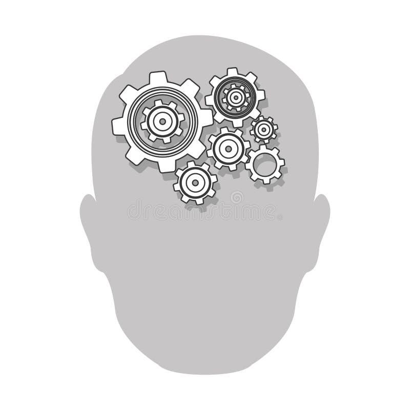ícone do cérebro da engrenagem da pessoa ilustração royalty free