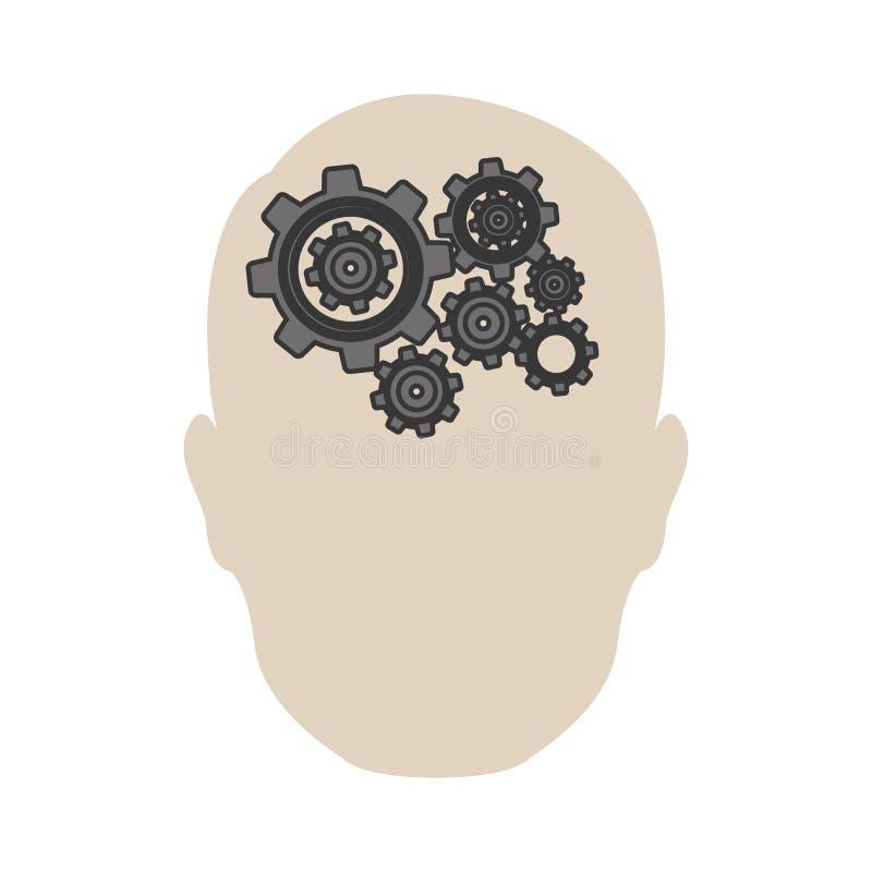 ícone do cérebro da engrenagem da pessoa ilustração do vetor