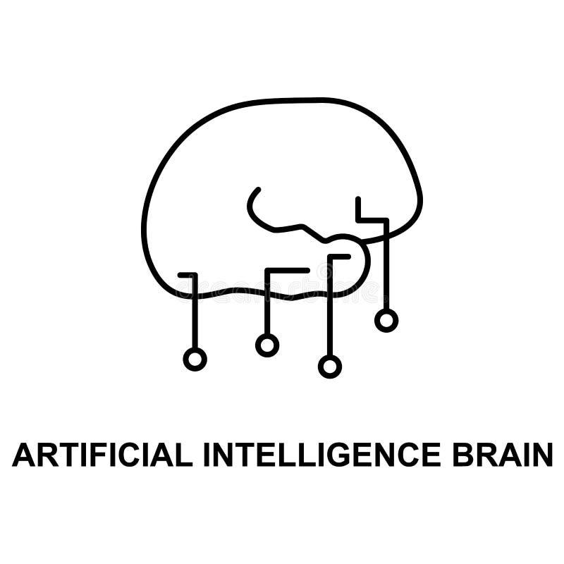 ícone do cérebro da inteligência artificial Elemento do ícone das tecnologias com nome para apps móveis do conceito e da Web Linh ilustração royalty free