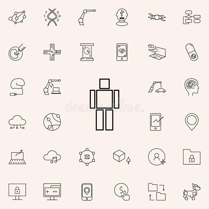 ícone do cérebro da inteligência artificial Grupo universal dos ícones das novas tecnologias para a Web e o móbil ilustração stock