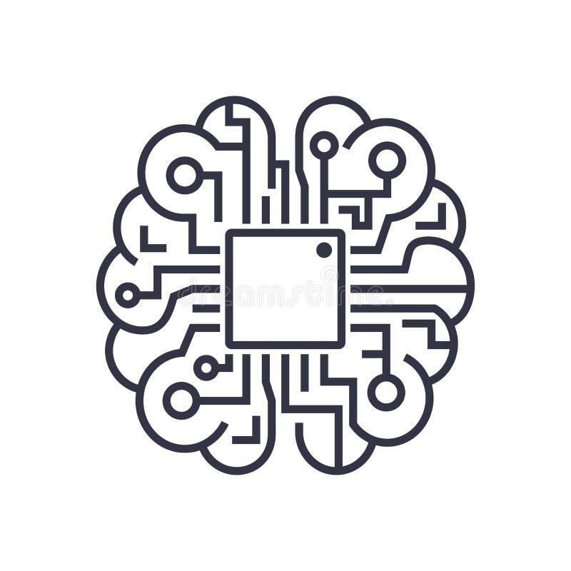 Ícone do cérebro da inteligência artificial - símbolo do conceito da tecnologia do AI do vetor, elemento do projeto ilustração royalty free
