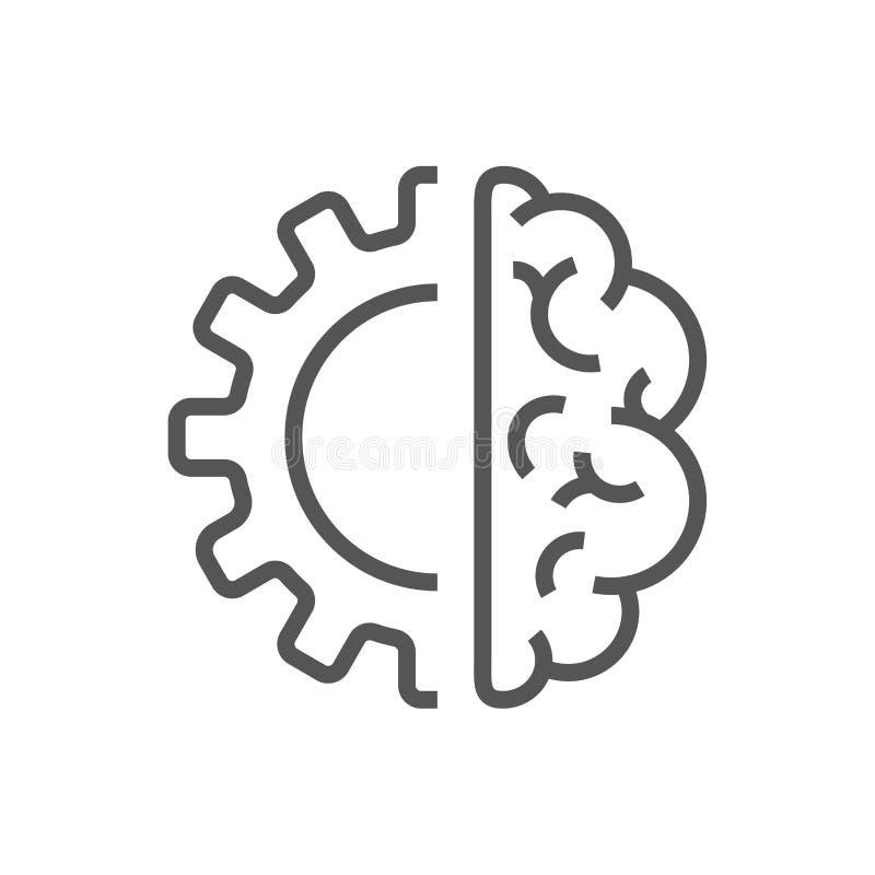 Ícone do cérebro da inteligência artificial - símbolo do conceito da tecnologia do AI do vetor ou elemento do projeto ilustração do vetor