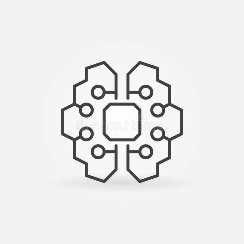 Ícone do cérebro da inteligência artificial - vector o sinal da tecnologia do AI ilustração royalty free