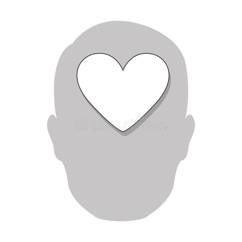 ícone do cérebro do coração da pessoa ilustração stock