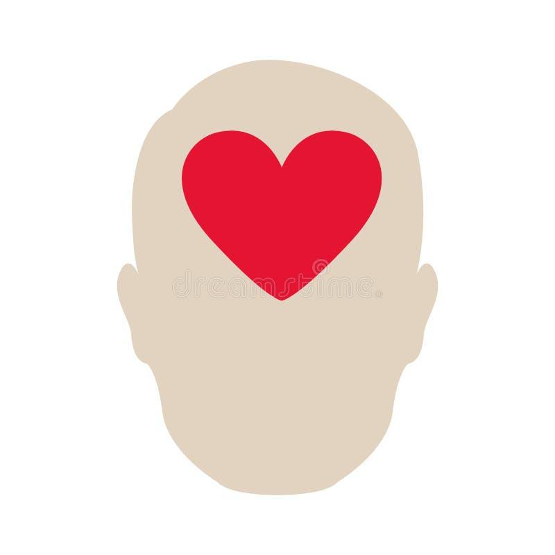ícone do cérebro do coração da pessoa ilustração royalty free
