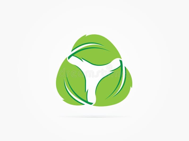 Ícone do círculo da árvore do verde da ilustração do vetor fotografia de stock